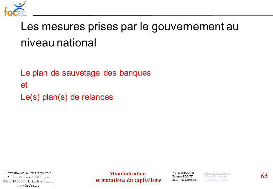 63 Formation & Action Citoyennes 58 Rue Raulin - 69007 Lyon 04.78.83.52.57 - la-fac@la-fac.org www.la-fac.org Nicole BONNIERn.bonnier@la-fac.orgn.bonnier@la-fac.org Bertrand BONYb.bony@la-fac.orgb.bony@la-fac.org Jean-Luc CIPIEREjl.cipiere@la-fac.orgjl.cipiere@la-fac.org Mondialisation et mutations du capitalisme Les mesures prises par le gouvernement au niveau national Le plan de sauvetage des banques et Le(s) plan(s) de relances