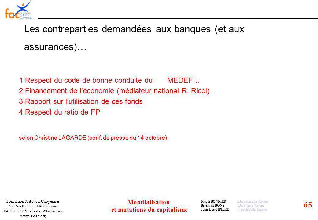 65 Formation & Action Citoyennes 58 Rue Raulin - 69007 Lyon 04.78.83.52.57 - la-fac@la-fac.org www.la-fac.org Nicole BONNIERn.bonnier@la-fac.orgn.bonnier@la-fac.org Bertrand BONYb.bony@la-fac.orgb.bony@la-fac.org Jean-Luc CIPIEREjl.cipiere@la-fac.orgjl.cipiere@la-fac.org Mondialisation et mutations du capitalisme Les contreparties demandées aux banques (et aux assurances)… 1 Respect du code de bonne conduite du MEDEF… 2 Financement de léconomie (médiateur national R.