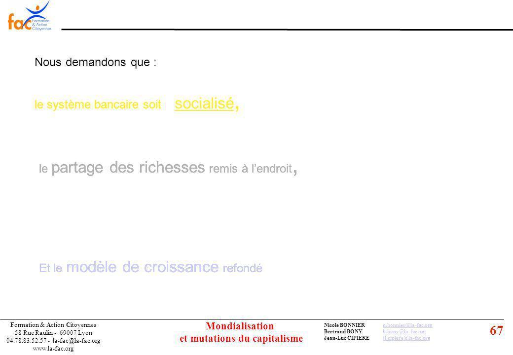 67 Formation & Action Citoyennes 58 Rue Raulin - 69007 Lyon 04.78.83.52.57 - la-fac@la-fac.org www.la-fac.org Nicole BONNIERn.bonnier@la-fac.orgn.bonnier@la-fac.org Bertrand BONYb.bony@la-fac.orgb.bony@la-fac.org Jean-Luc CIPIEREjl.cipiere@la-fac.orgjl.cipiere@la-fac.org Mondialisation et mutations du capitalisme Nous demandons que : le système bancaire soit socialisé, le partage des richesses remis à lendroit, Et le modèle de croissance refondé