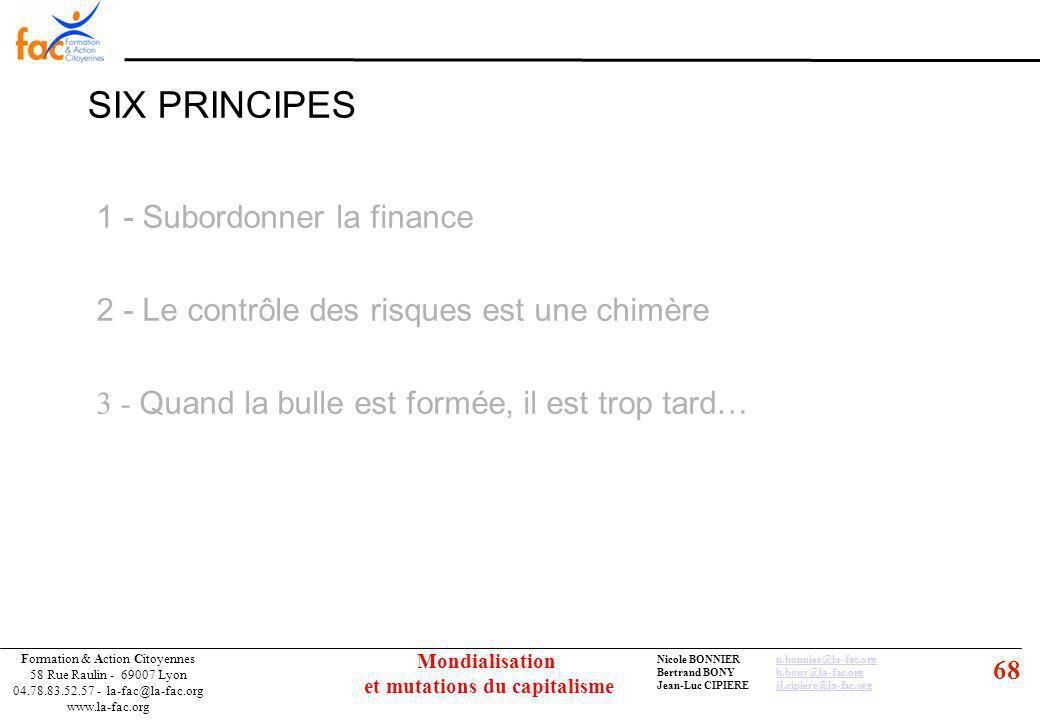 68 Formation & Action Citoyennes 58 Rue Raulin - 69007 Lyon 04.78.83.52.57 - la-fac@la-fac.org www.la-fac.org Nicole BONNIERn.bonnier@la-fac.orgn.bonnier@la-fac.org Bertrand BONYb.bony@la-fac.orgb.bony@la-fac.org Jean-Luc CIPIEREjl.cipiere@la-fac.orgjl.cipiere@la-fac.org Mondialisation et mutations du capitalisme SIX PRINCIPES 1 - Subordonner la finance 2 - Le contrôle des risques est une chimère 3 - Quand la bulle est formée, il est trop tard…