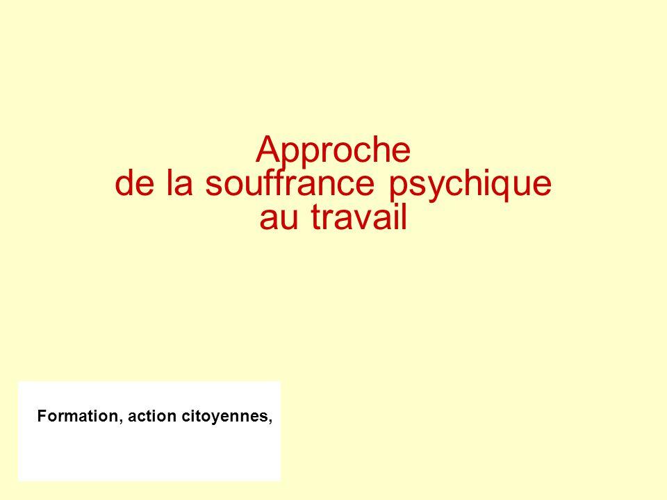Formation, action citoyennes, Approche de la souffrance psychique au travail
