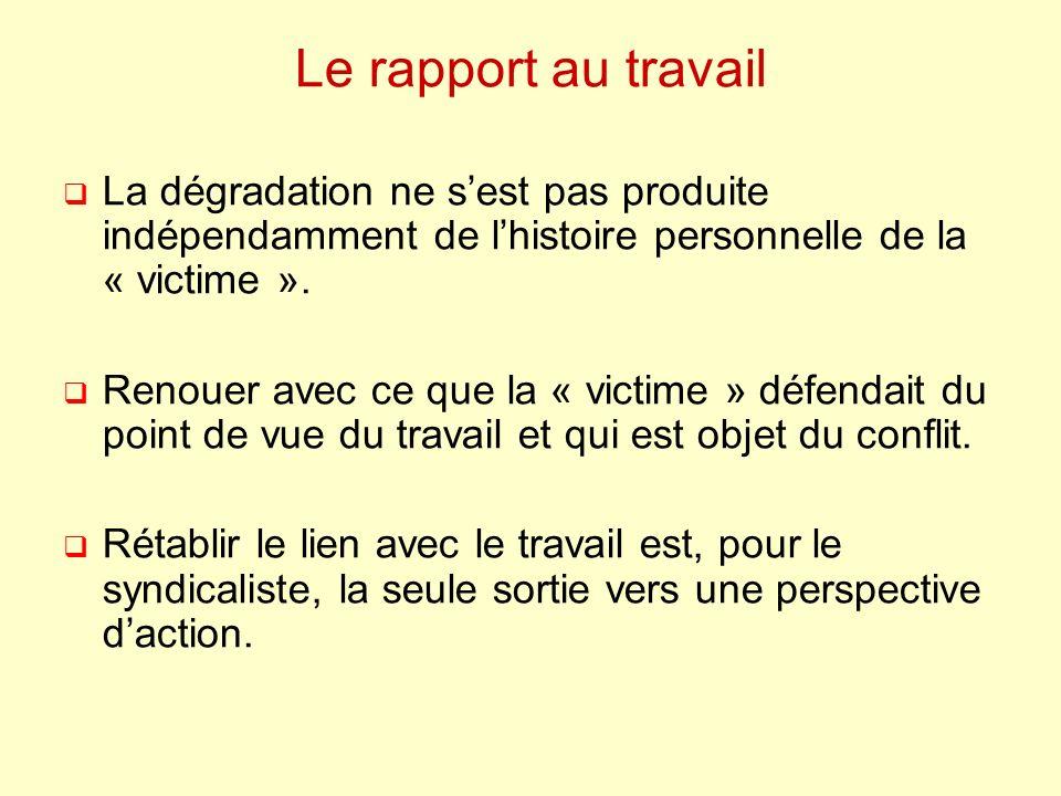 Le rapport au travail La dégradation ne sest pas produite indépendamment de lhistoire personnelle de la « victime ».
