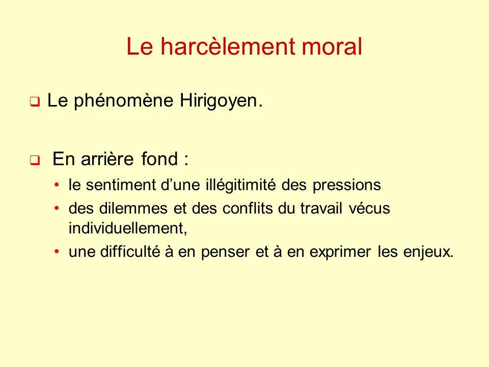 Le harcèlement moral Le phénomène Hirigoyen.