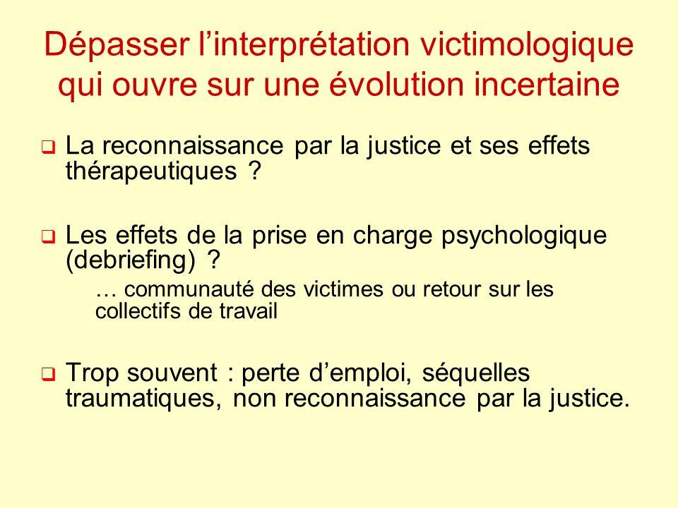 Dépasser linterprétation victimologique qui ouvre sur une évolution incertaine La reconnaissance par la justice et ses effets thérapeutiques .