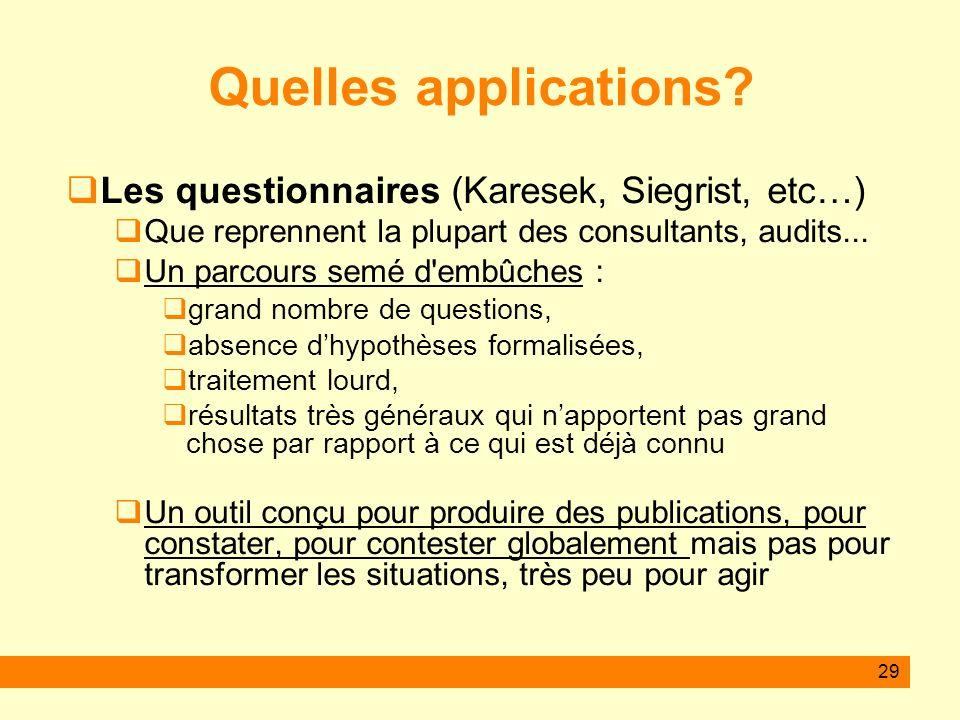 29 Quelles applications? Les questionnaires (Karesek, Siegrist, etc…) Que reprennent la plupart des consultants, audits... Un parcours semé d'embûches