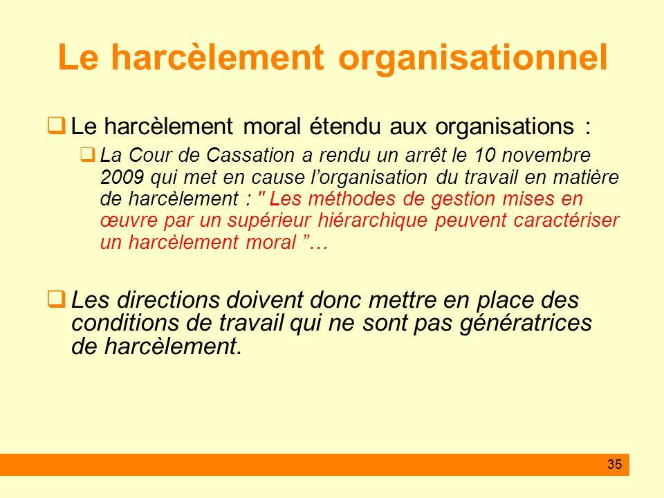 35 Le harcèlement organisationnel Le harcèlement moral étendu aux organisations : La Cour de Cassation a rendu un arrêt le 10 novembre 2009 qui met en