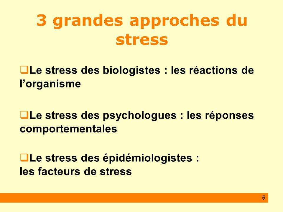 5 3 grandes approches du stress Le stress des biologistes : les réactions de lorganisme Le stress des psychologues : les réponses comportementales Le