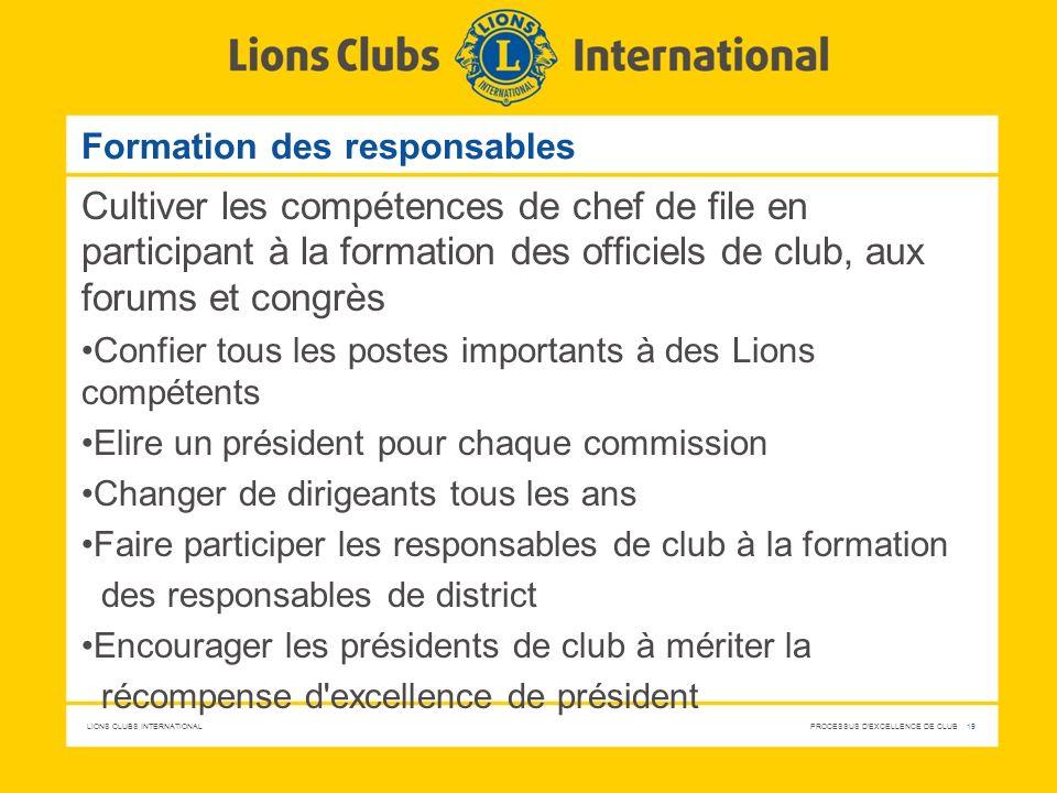LIONS CLUBS INTERNATIONAL PROCESSUS D'EXCELLENCE DE CLUB 19 Formation des responsables Cultiver les compétences de chef de file en participant à la fo