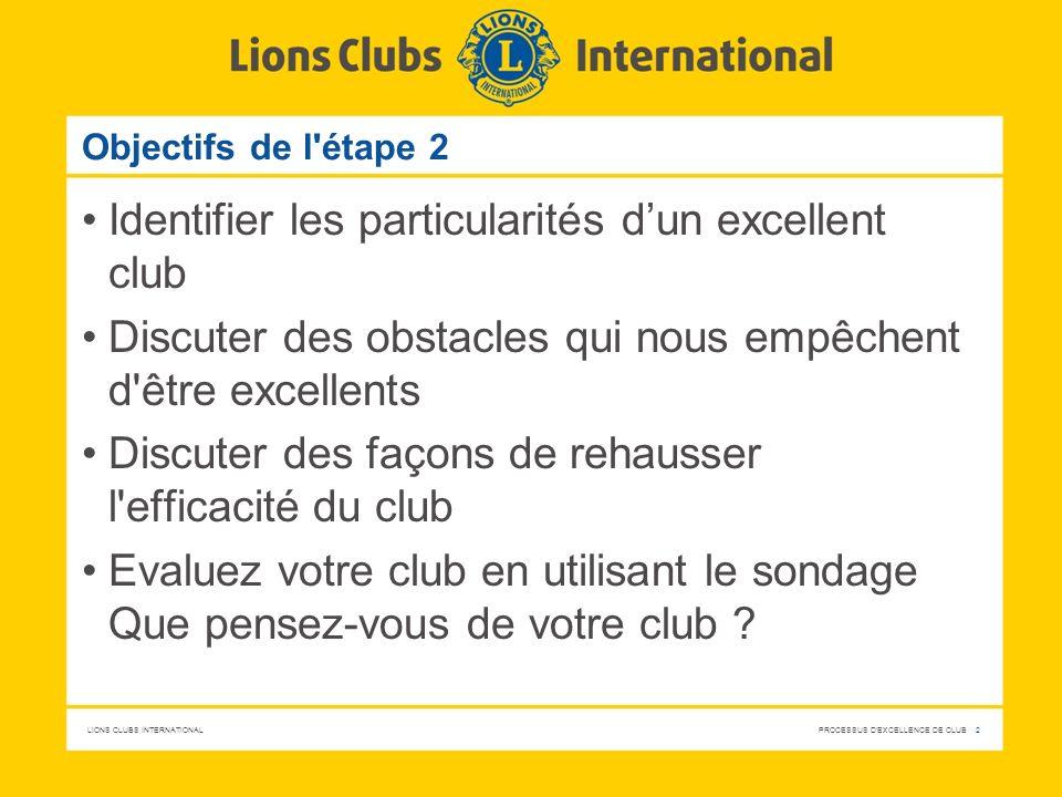 LIONS CLUBS INTERNATIONAL PROCESSUS D'EXCELLENCE DE CLUB 2 Objectifs de l'étape 2 Identifier les particularités dun excellent club Discuter des obstac