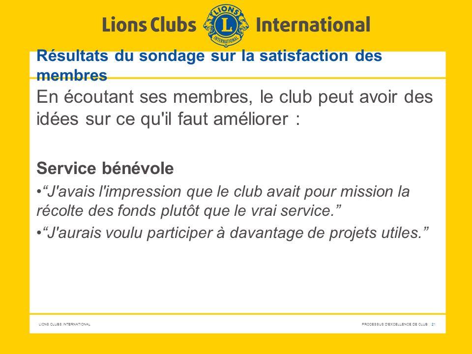 LIONS CLUBS INTERNATIONAL PROCESSUS D'EXCELLENCE DE CLUB 21 Résultats du sondage sur la satisfaction des membres En écoutant ses membres, le club peut