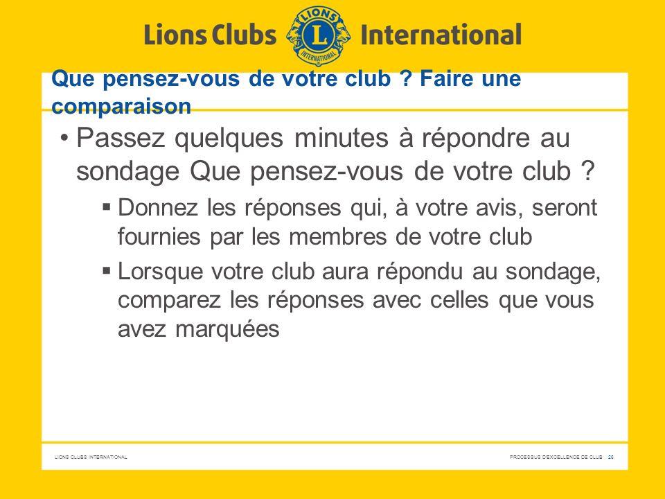 LIONS CLUBS INTERNATIONAL PROCESSUS D'EXCELLENCE DE CLUB 26 Que pensez-vous de votre club ? Faire une comparaison Passez quelques minutes à répondre a