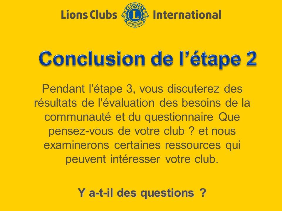 Pendant l'étape 3, vous discuterez des résultats de l'évaluation des besoins de la communauté et du questionnaire Que pensez-vous de votre club ? et n