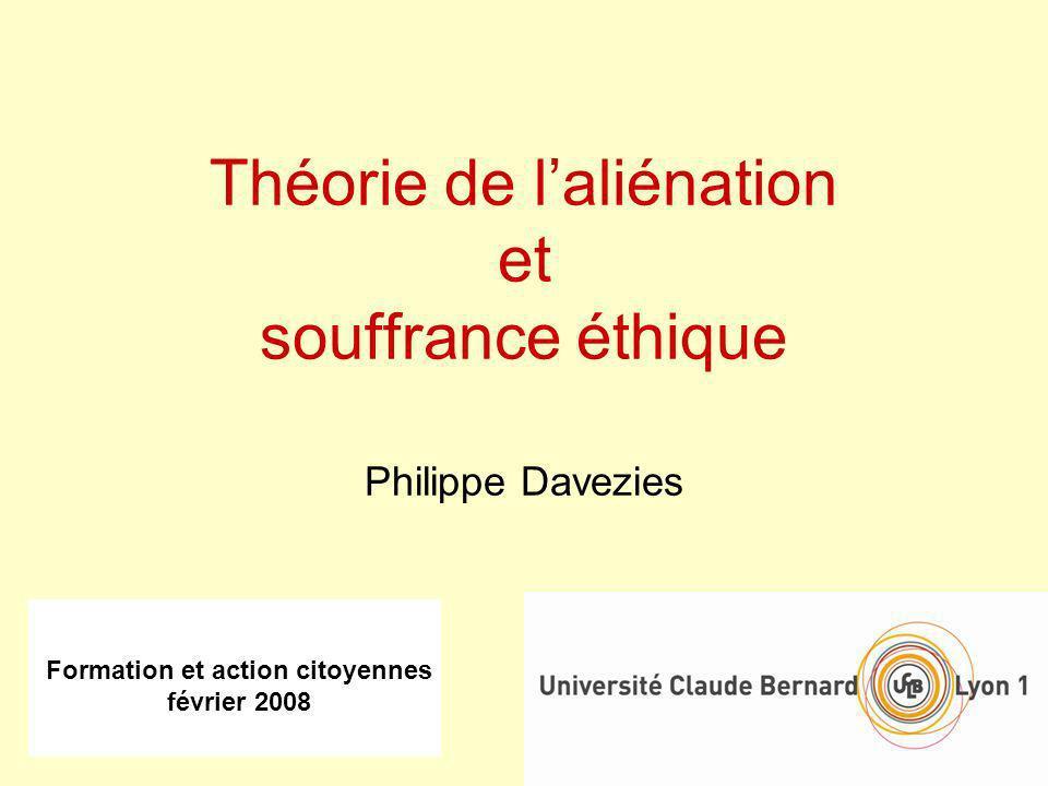 Formation et action citoyennes février 2008 Théorie de laliénation et souffrance éthique Philippe Davezies