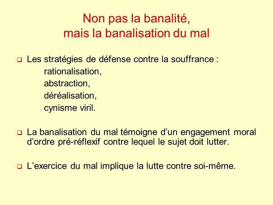 Non pas la banalité, mais la banalisation du mal Les stratégies de défense contre la souffrance : rationalisation, abstraction, déréalisation, cynisme