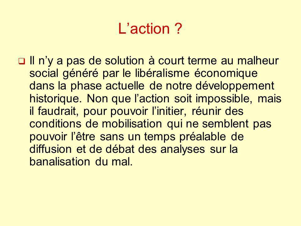 Laction ? Il ny a pas de solution à court terme au malheur social généré par le libéralisme économique dans la phase actuelle de notre développement h
