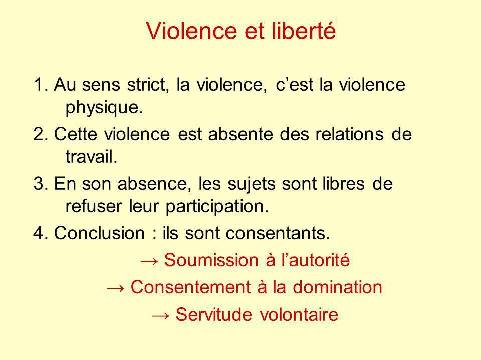 Violence et liberté 1. Au sens strict, la violence, cest la violence physique. 2. Cette violence est absente des relations de travail. 3. En son absen