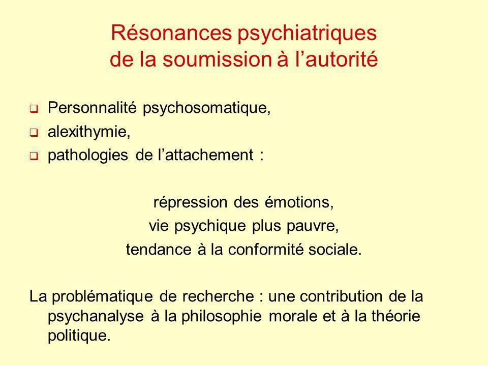 Résonances psychiatriques de la soumission à lautorité Personnalité psychosomatique, alexithymie, pathologies de lattachement : répression des émotion