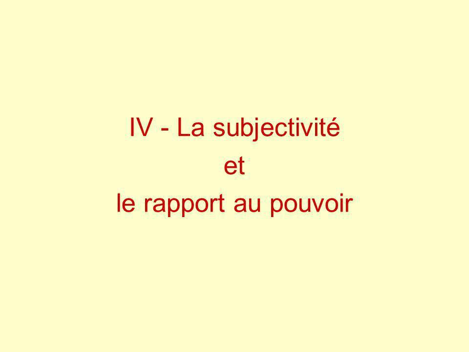 IV - La subjectivité et le rapport au pouvoir