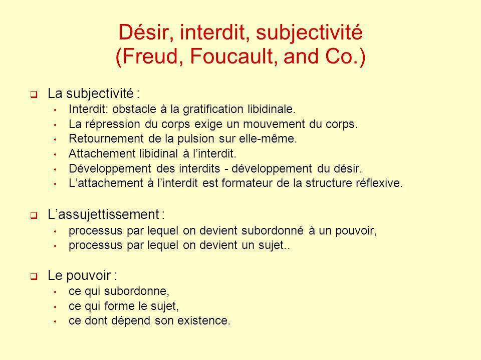 Désir, interdit, subjectivité (Freud, Foucault, and Co.) La subjectivité : Interdit: obstacle à la gratification libidinale. La répression du corps ex