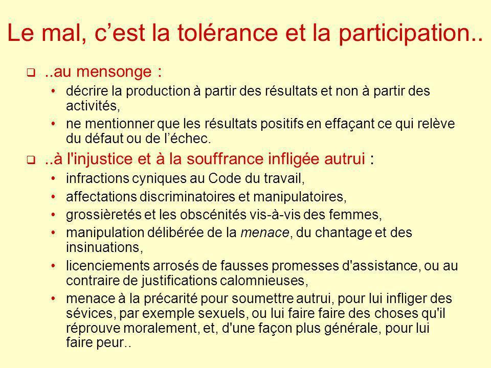 Le mal, cest la tolérance et la participation....au mensonge : décrire la production à partir des résultats et non à partir des activités, ne mentionn
