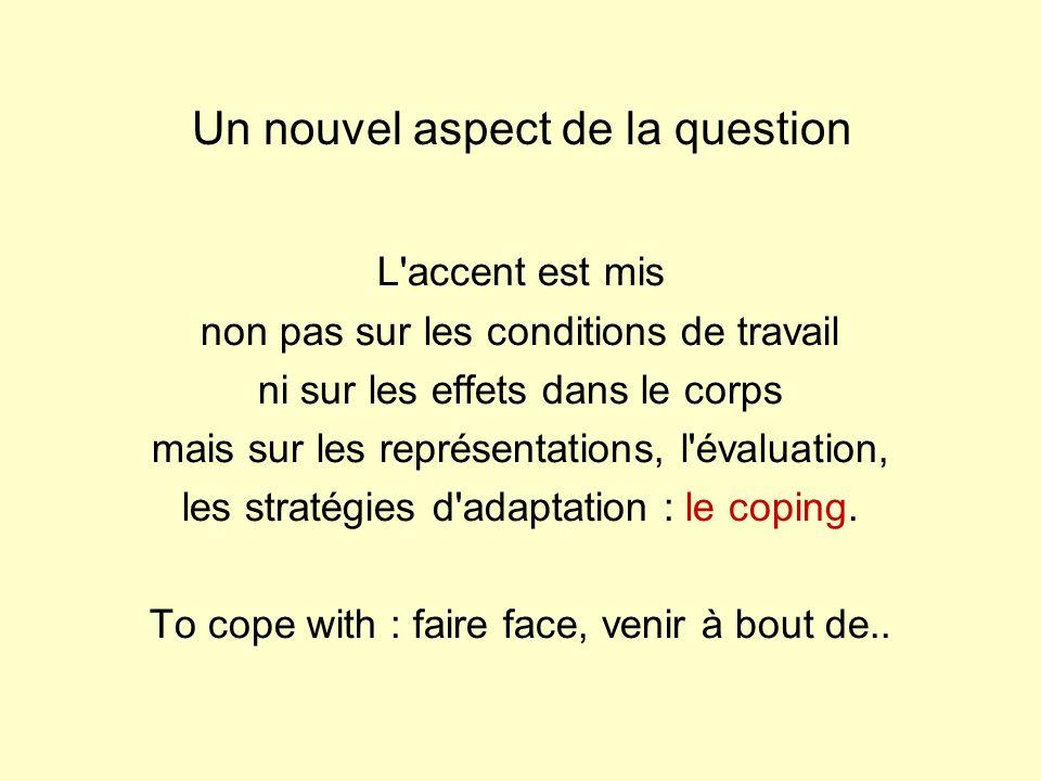 Un nouvel aspect de la question L accent est mis non pas sur les conditions de travail ni sur les effets dans le corps mais sur les représentations, l évaluation, les stratégies d adaptation : le coping.