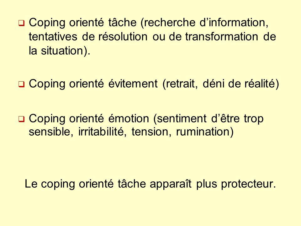 Coping orienté tâche (recherche dinformation, tentatives de résolution ou de transformation de la situation).