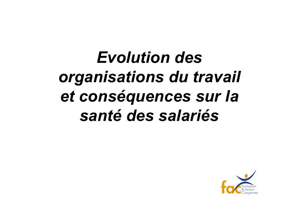 Evolution des organisations du travail et conséquences sur la santé des salariés