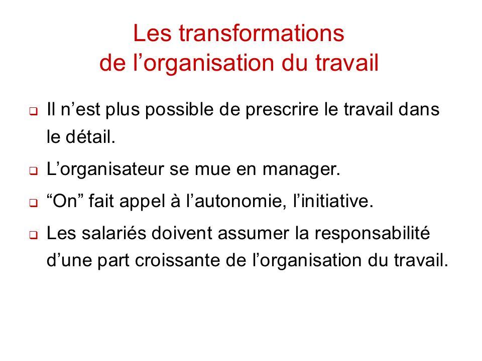 Les transformations de lorganisation du travail Il nest plus possible de prescrire le travail dans le détail. Lorganisateur se mue en manager. On fait