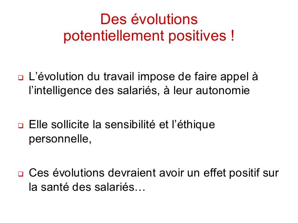 Des évolutions potentiellement positives ! Lévolution du travail impose de faire appel à lintelligence des salariés, à leur autonomie Elle sollicite l