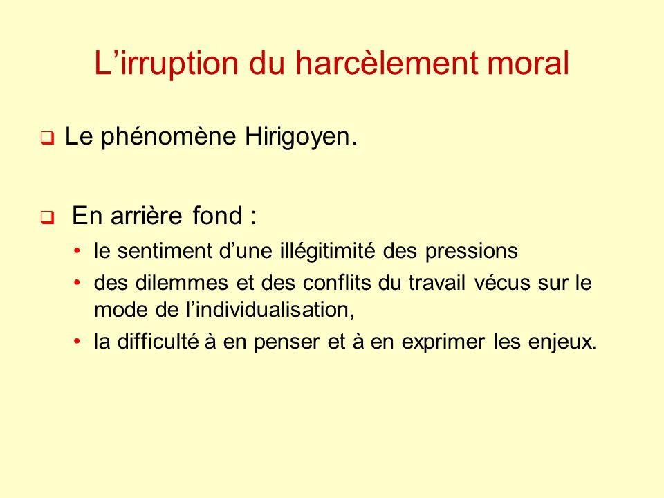 Lirruption du harcèlement moral Le phénomène Hirigoyen. En arrière fond : le sentiment dune illégitimité des pressions des dilemmes et des conflits du