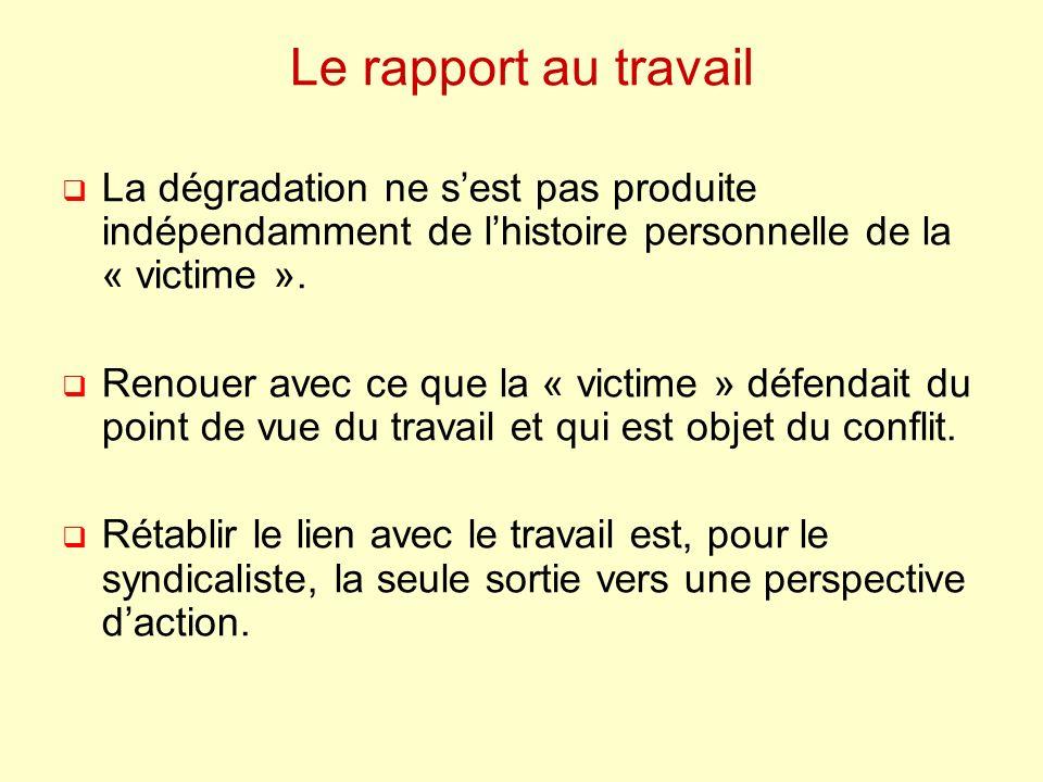 Le rapport au travail La dégradation ne sest pas produite indépendamment de lhistoire personnelle de la « victime ». Renouer avec ce que la « victime