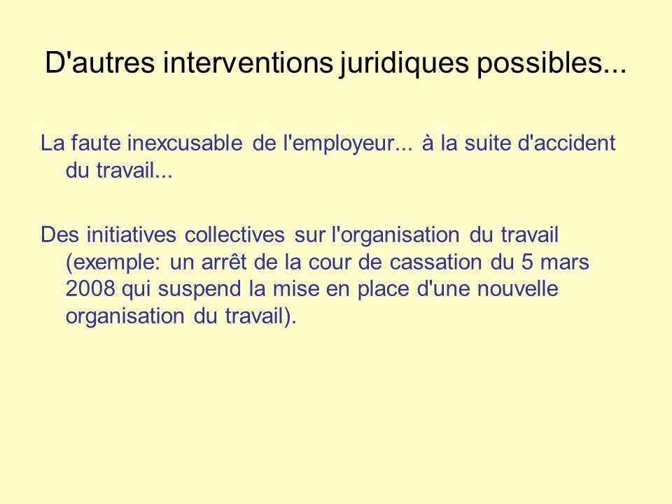 D'autres interventions juridiques possibles... La faute inexcusable de l'employeur... à la suite d'accident du travail... Des initiatives collectives