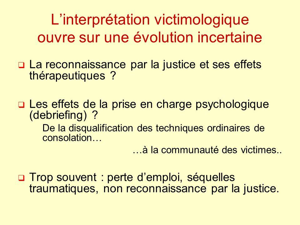 Linterprétation victimologique ouvre sur une évolution incertaine La reconnaissance par la justice et ses effets thérapeutiques ? Les effets de la pri