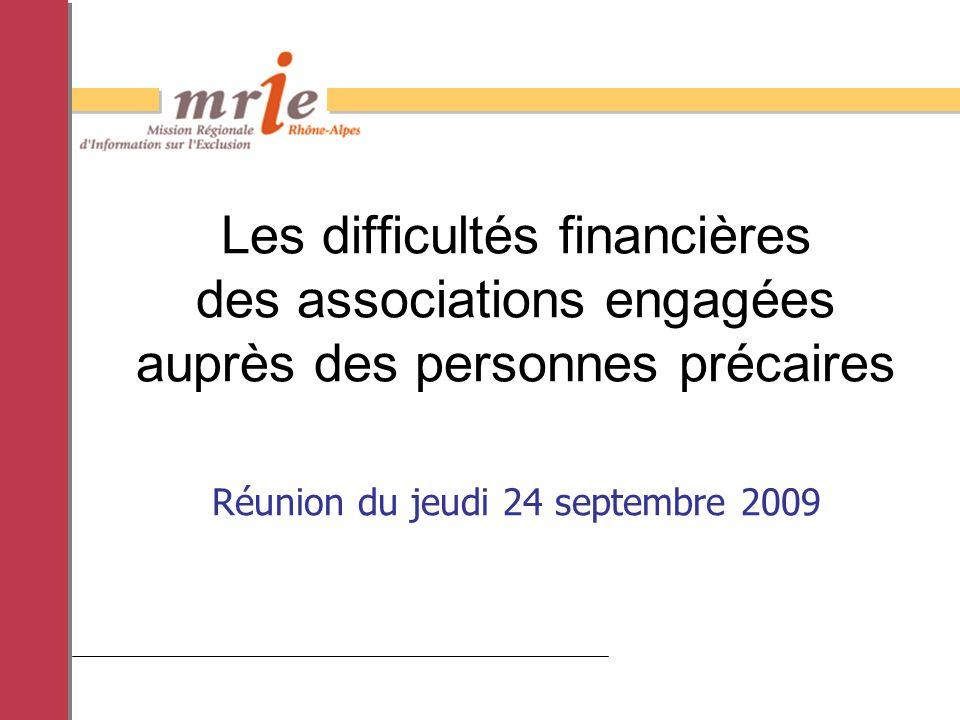 Réunion du jeudi 24 septembre 2009 Les difficultés financières des associations engagées auprès des personnes précaires