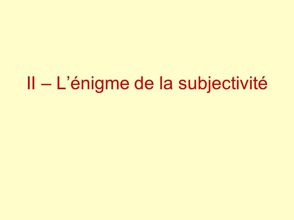 II – Lénigme de la subjectivité