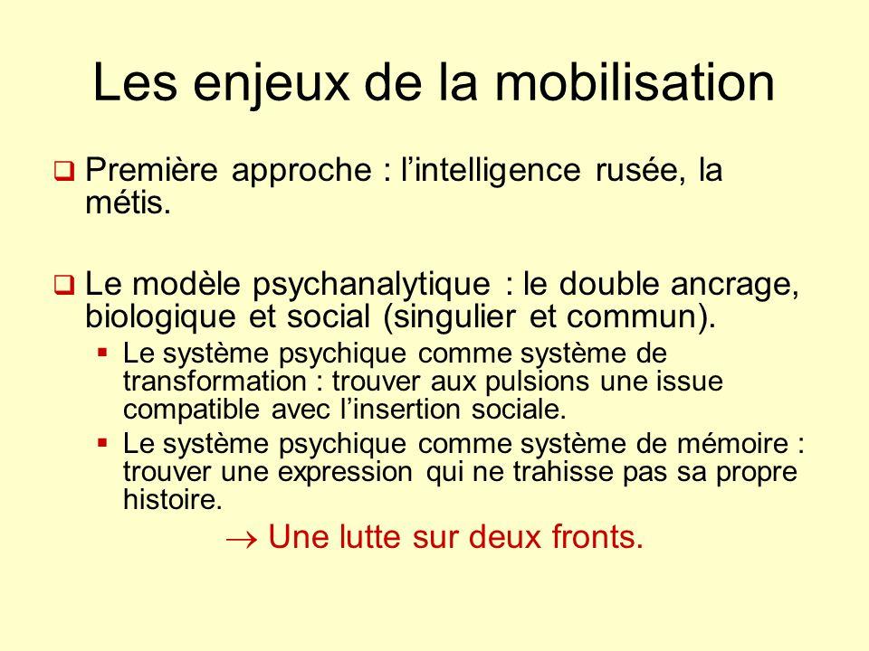 Les enjeux de la mobilisation Première approche : lintelligence rusée, la métis. Le modèle psychanalytique : le double ancrage, biologique et social (