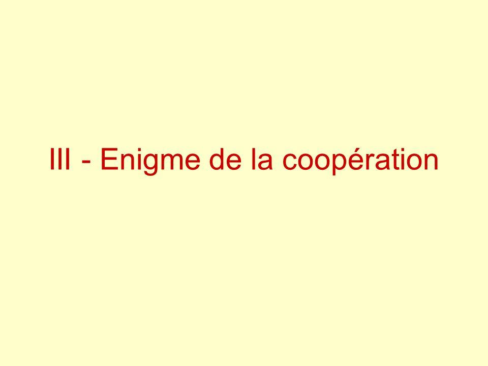 III - Enigme de la coopération
