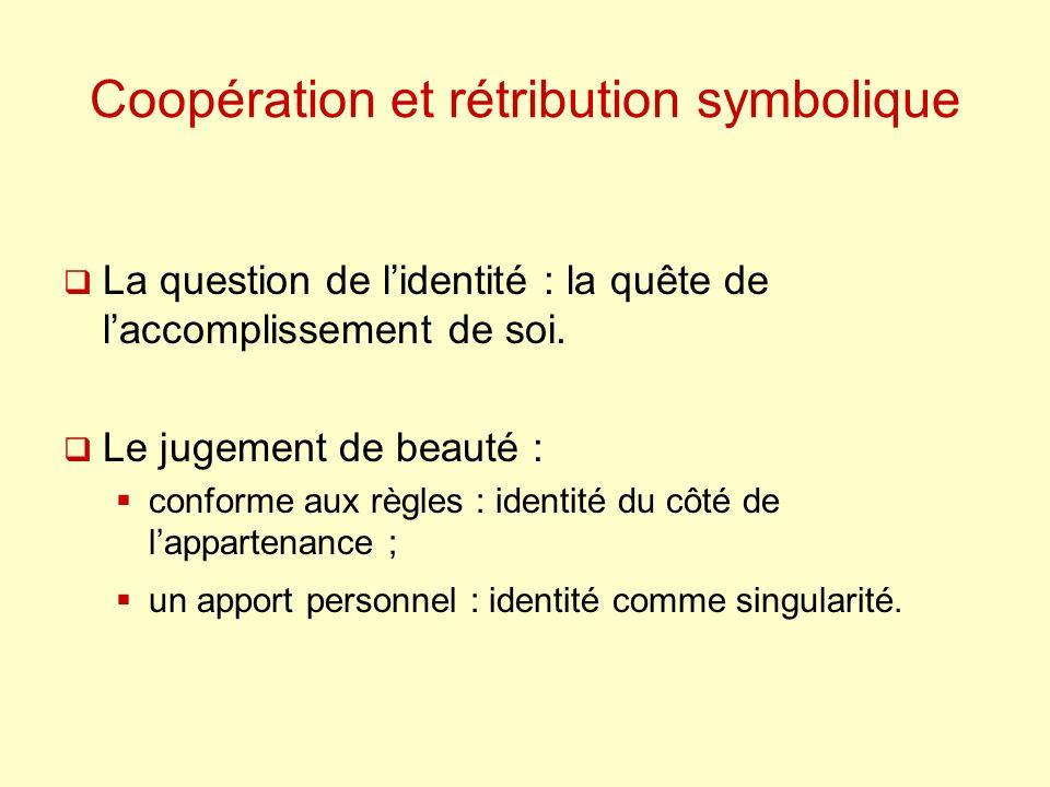 Coopération et rétribution symbolique La question de lidentité : la quête de laccomplissement de soi. Le jugement de beauté : conforme aux règles : id