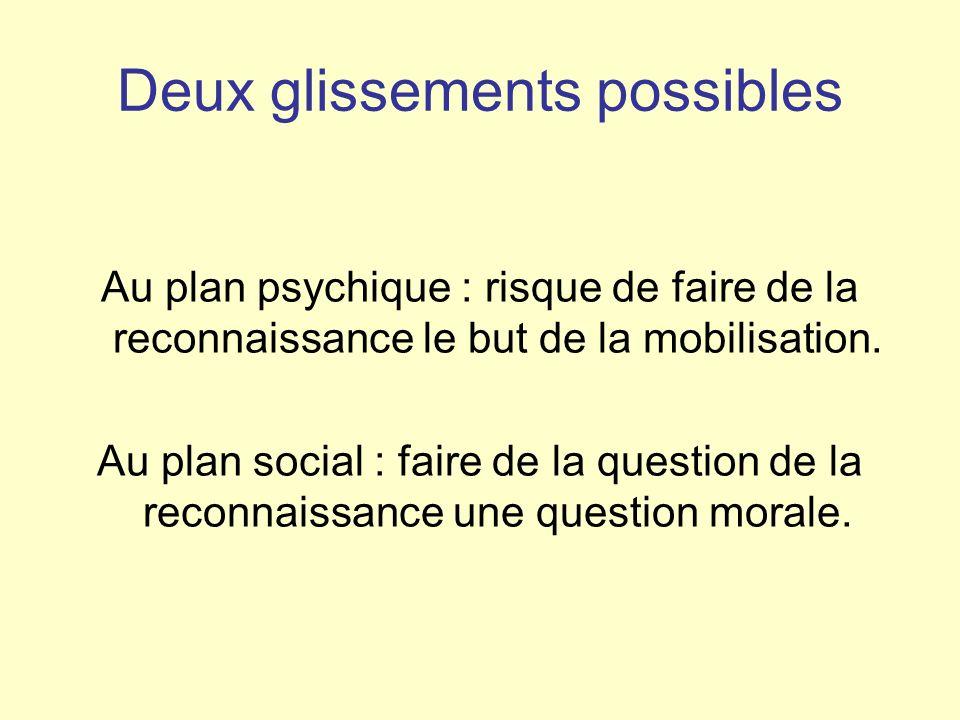 Deux glissements possibles Au plan psychique : risque de faire de la reconnaissance le but de la mobilisation. Au plan social : faire de la question d