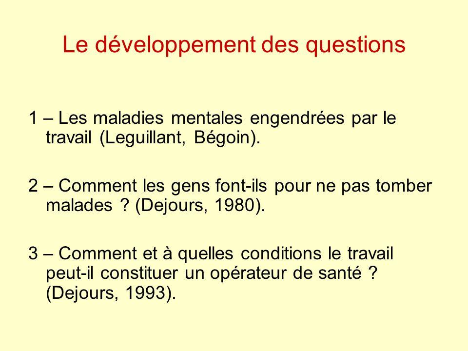 Le développement des questions 1 – Les maladies mentales engendrées par le travail (Leguillant, Bégoin). 2 – Comment les gens font-ils pour ne pas tom