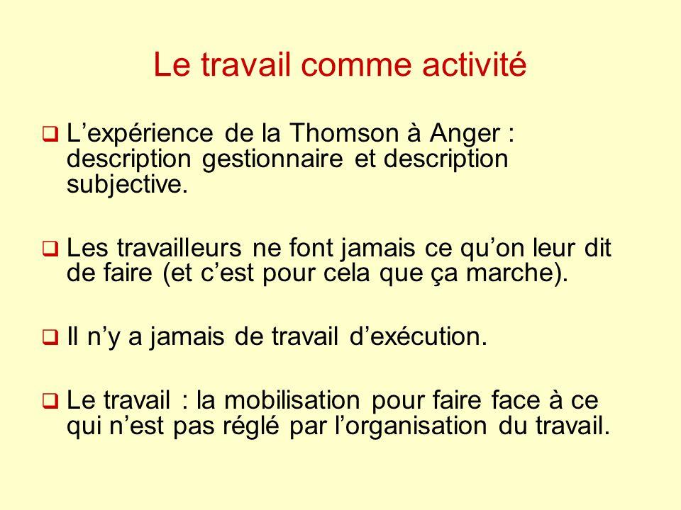 Le travail comme activité Lexpérience de la Thomson à Anger : description gestionnaire et description subjective. Les travailleurs ne font jamais ce q