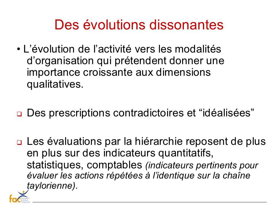 Des évolutions dissonantes Lévolution de lactivité vers les modalités dorganisation qui prétendent donner une importance croissante aux dimensions qua