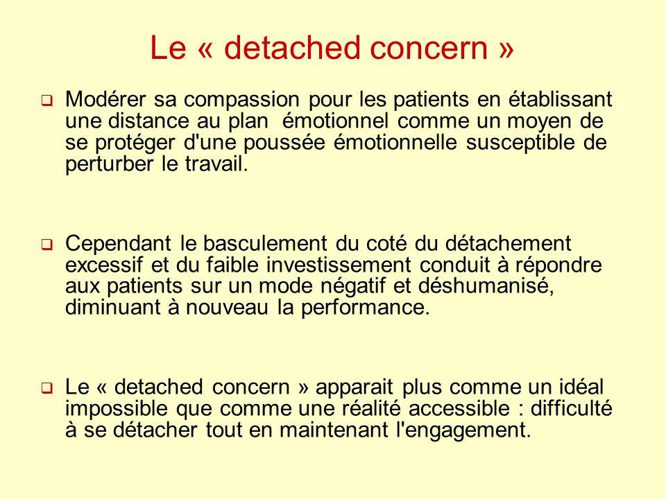 Le « detached concern » Modérer sa compassion pour les patients en établissant une distance au plan émotionnel comme un moyen de se protéger d'une pou