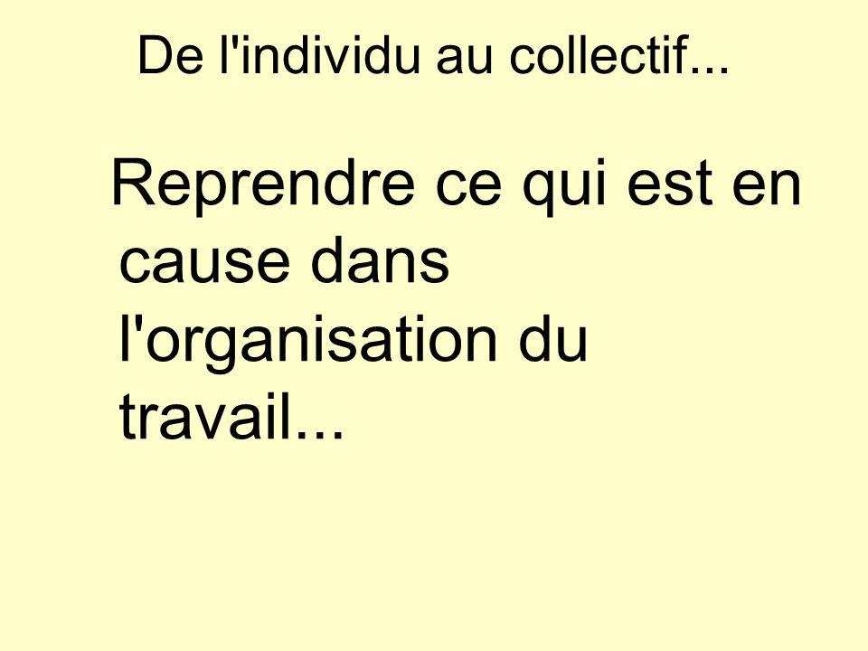 De l individu au collectif... Reprendre ce qui est en cause dans l organisation du travail...