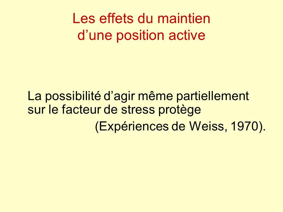 Les effets du maintien dune position active La possibilité dagir même partiellement sur le facteur de stress protège (Expériences de Weiss, 1970).