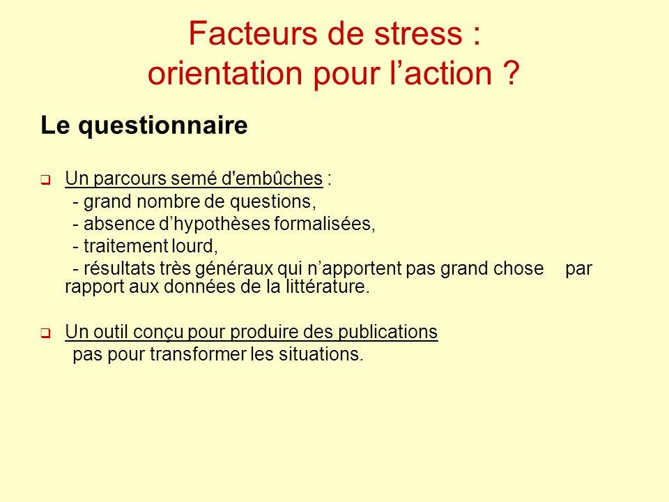 Facteurs de stress : orientation pour laction ? Le questionnaire Un parcours semé d'embûches : - grand nombre de questions, - absence dhypothèses form
