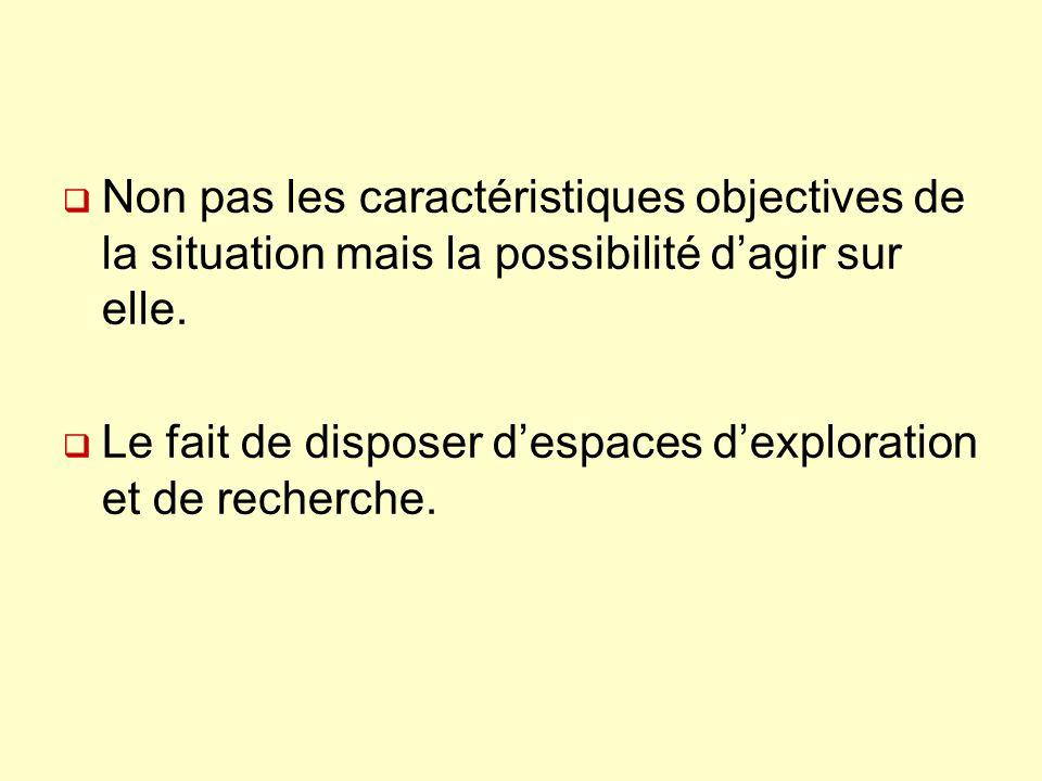 Non pas les caractéristiques objectives de la situation mais la possibilité dagir sur elle. Le fait de disposer despaces dexploration et de recherche.