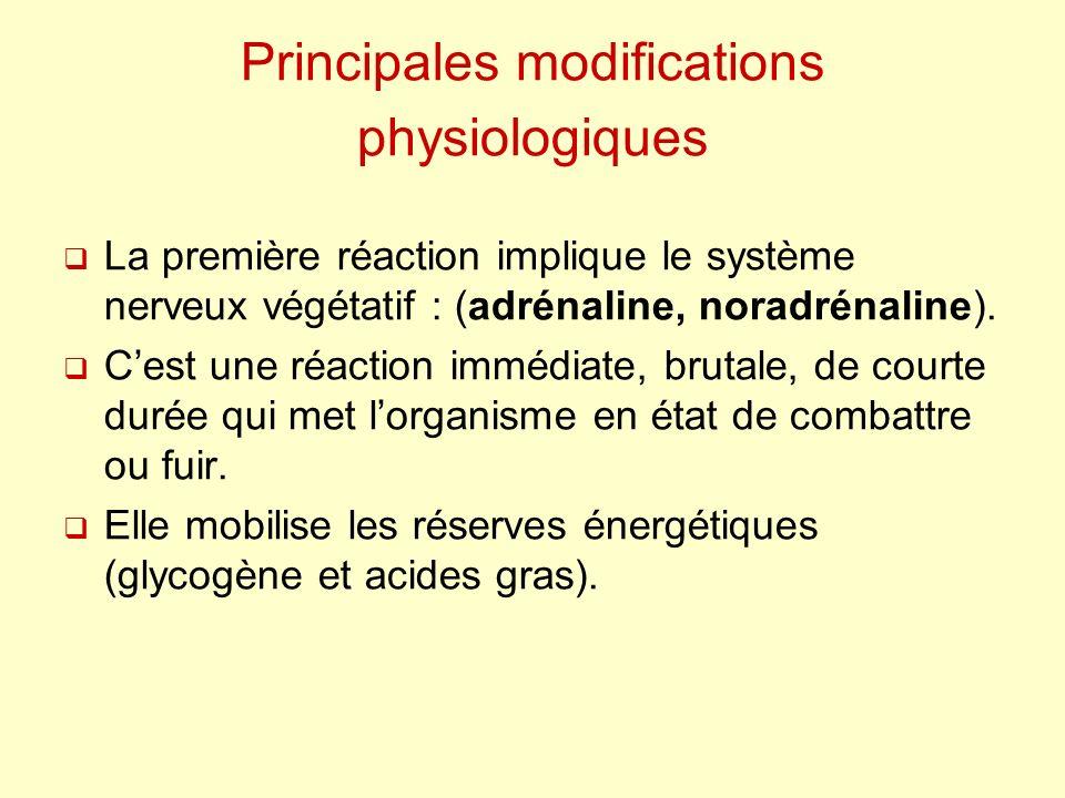 Principales modifications physiologiques La première réaction implique le système nerveux végétatif : (adrénaline, noradrénaline). Cest une réaction i