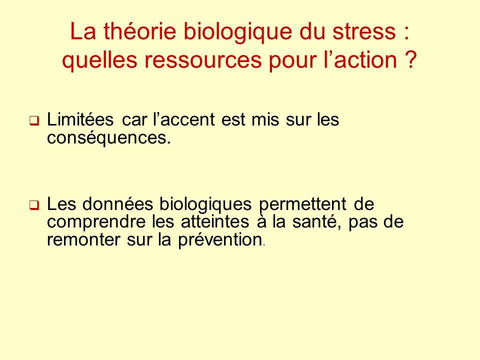 La théorie biologique du stress : quelles ressources pour laction ? Limitées car laccent est mis sur les conséquences. Les données biologiques permett