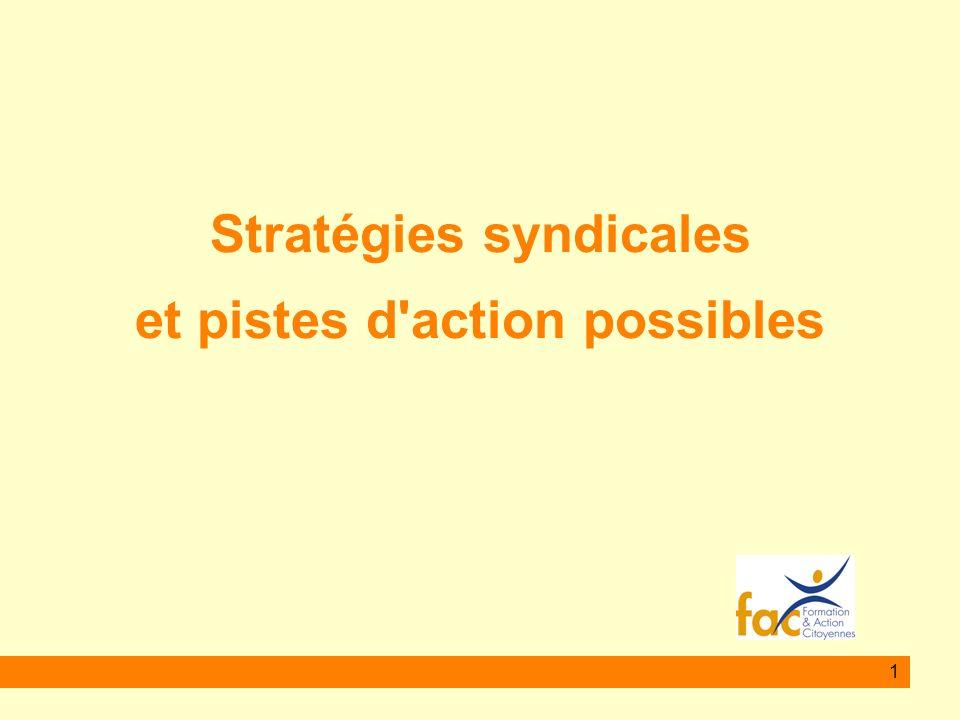 1 Stratégies syndicales et pistes d'action possibles